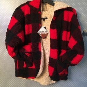 NWT Sweet Rain Teddy Sherpa Jacket Plaid Reverse